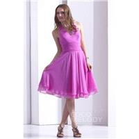 Hot Selling A-Line Halter Knee Length Chiffon Violet Party Dress COZK13019 - Top Designer Wedding On