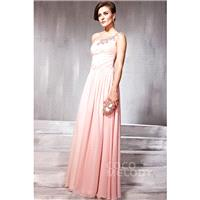 Delicate Sheath-Column One Shoulder Floor Length Chiffon Evening Dress with Draped and Crystals COSF