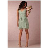 BHLDN (Bridesmaids) Celestina_Green - A-Line Green Lace Short Natural - Formal Bridesmaid Dresses 20