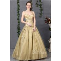 Unique A-Line Spaghetti Strap Floor Length Tulle Gold Prom Dress COLF1300F - Top Designer Wedding On