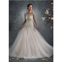 Sophia Tolli Fall/Winter 2017 Y21748 Ursa Beading Tulle Sweet Trumpet Ivory Sleeveless Illusion Chap