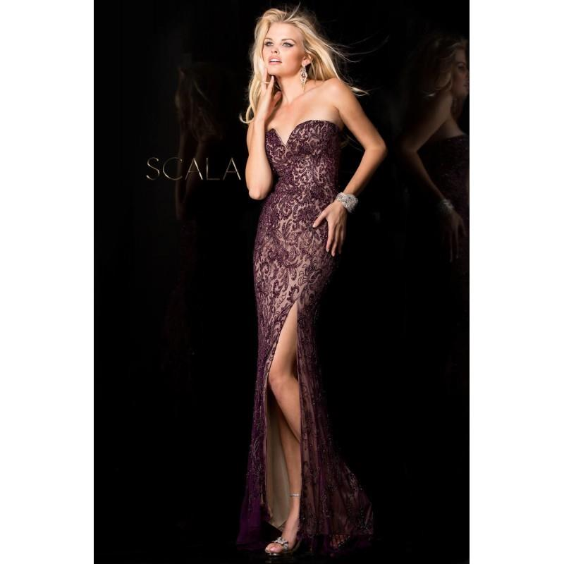 My Stuff, Scala 48551 Navy/Nude,Wine Dress - The Unique Prom Store