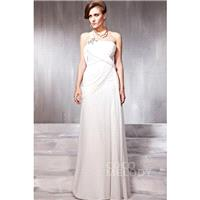Divine Sheath-Column One Shoulder Floor Length Chiffon Evening Dress with Draped and Crystals COSF14