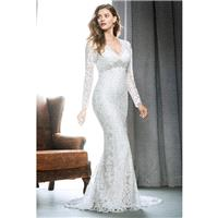 1708 by Kenneth Winston - Ivory Lace Floor V-Neck Body-skimming  Column Full Length Wedding Dresses