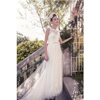Snow by Annasul Y. 2017 sa3333b Open Back Chapel Train Bateau Ivory Sleeveless Column Lace Appliques