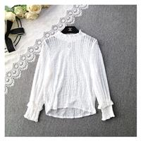 Sexy Frilled Sleeves High Neck Seen Through One Color Top Blouse - beenono.com