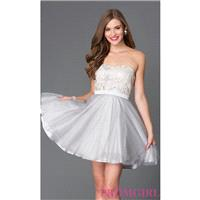Short Strapless Homecoming Dress 7535-1 - Brand Prom Dresses|Beaded Evening Dresses|Unique Dresses F