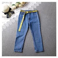 Casual Embroidery Buttons Zipper Up Alphabet Jeans - beenono.com