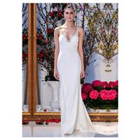 Glamorous Satin Chiffon Spaghetti Straps Neckline Mermaid Wedding Dresses With Lace Appliques - over