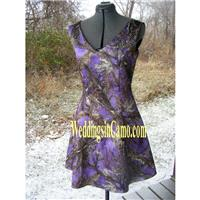 SHORT CAMO Bridesmaid Sleeveless V-neck  GREAT for plus sizes Available in fourteen colors - Hand-ma