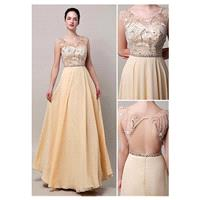 Stunning Chiffon Scoop Neckline Full-length A-line Prom Dresses - overpinks.com