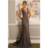 Jovani 24835 V-Neckline Sheer Back Sheath Silhouette - Jovani V Neck Social and Evenings Long Sheath
