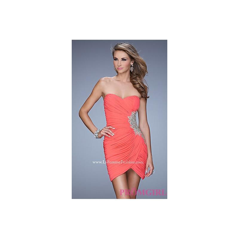 My Stuff, LF-21344 - Short Strapless Ruched La Femme Dress - Bonny Evening Dresses Online