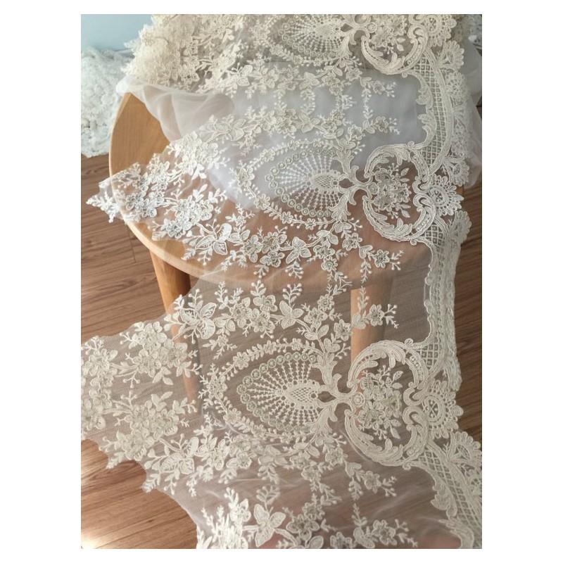 My Stuff, Gorgeous Alencon Lace Trim in champagne Cream with Gold Thread for Wedding Gown, Bridal Ac