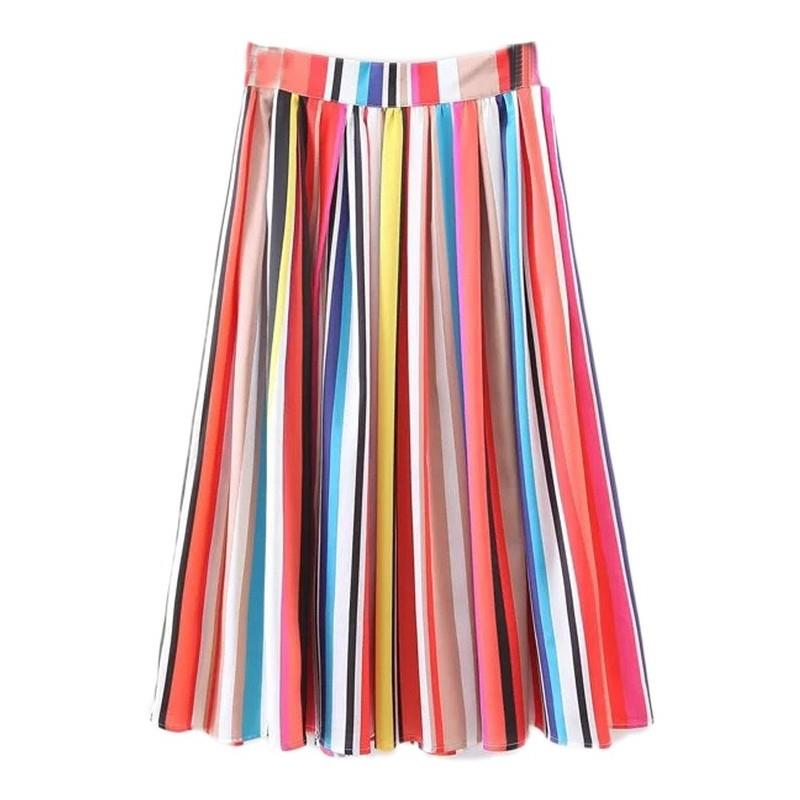 My Stuff, Must-have Vogue Pleated Satin Rainbow Mid-length Skirt Skirt - Lafannie Fashion Shop
