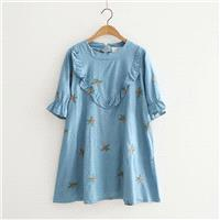 Oversized Embroidery Scoop Neck Short Sleeves Floral Cartoon Summer Dress - Lafannie Fashion Shop