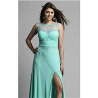 Aqua Beautiful Illusion Neckline Gown by Dave and Johnny - Color Your Classy Wardrobe