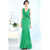 Fashion Trumpet-Mermaid V-Neck Natural Floor Length Cascade Sleeveless Open Back Evening Dress COAF1