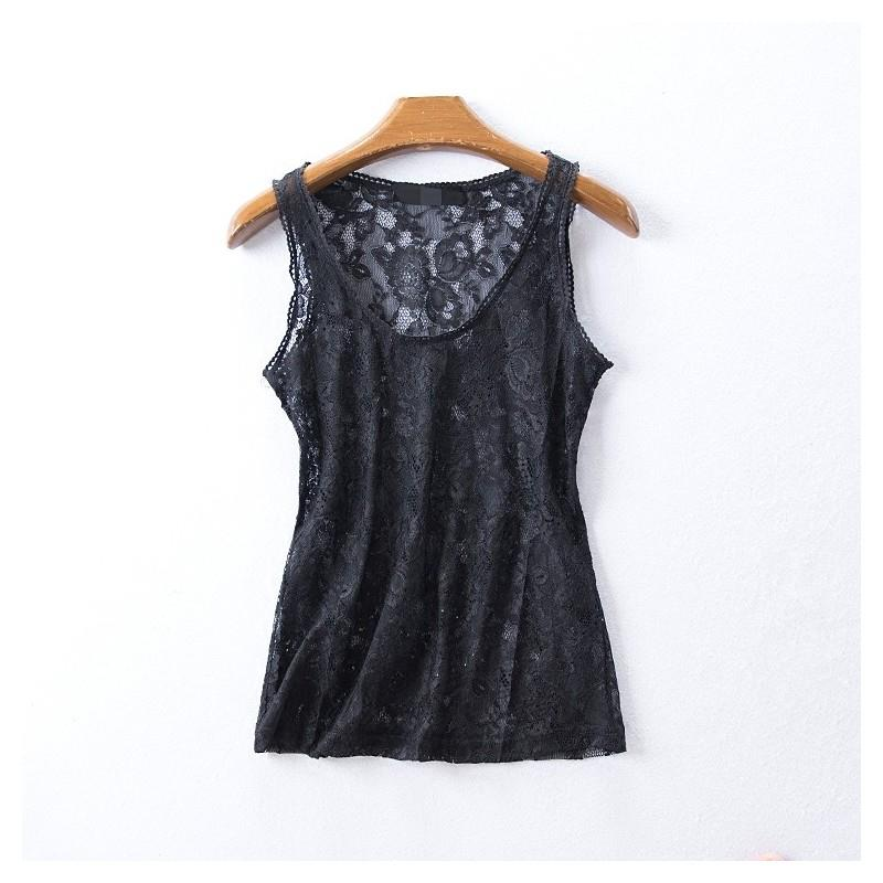 My Stuff, Hollow Out Slimming Sleeveless Summer Flexible Lace Essential T-shirt - beenono.com