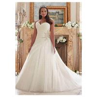 Marvelous Organza Sweetheart Neckline A-line Plus Size Wedding Dresses With Beadings - overpinks.com