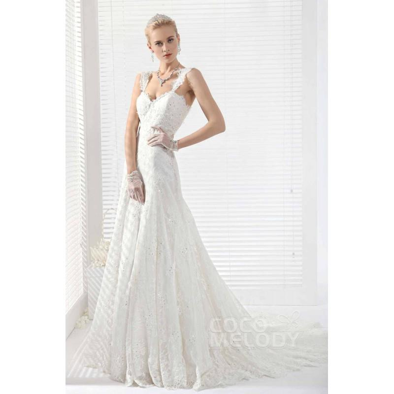 My Stuff, Dramatic A-Line Straps Chapel Train Lace Wedding Dress - Top Designer Wedding Online-Shop
