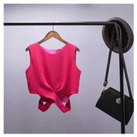 Sexy Hollow Out Slimming Sleeveless Crossed Straps Summer Crop Top Top Sleeveless Top - beenono.com