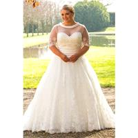 Plus-Size Dresses Style BB17504 by BB+ by Special Day - Ivory  White Lace  Satin  Tulle Cover-up Flo
