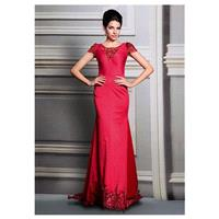 In Stock Charming Stretch Brocade Cotton & Heavy Malay Satin Jewel Neckline Full Length Sheath Forma