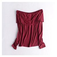 Slimming Bateau Off-the-Shoulder One Color Fall Flexible Essential T-shirt Top - beenono.com