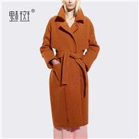 2017 in winter new products women's solid color long wool coats women loose collar wool coat - Bonny