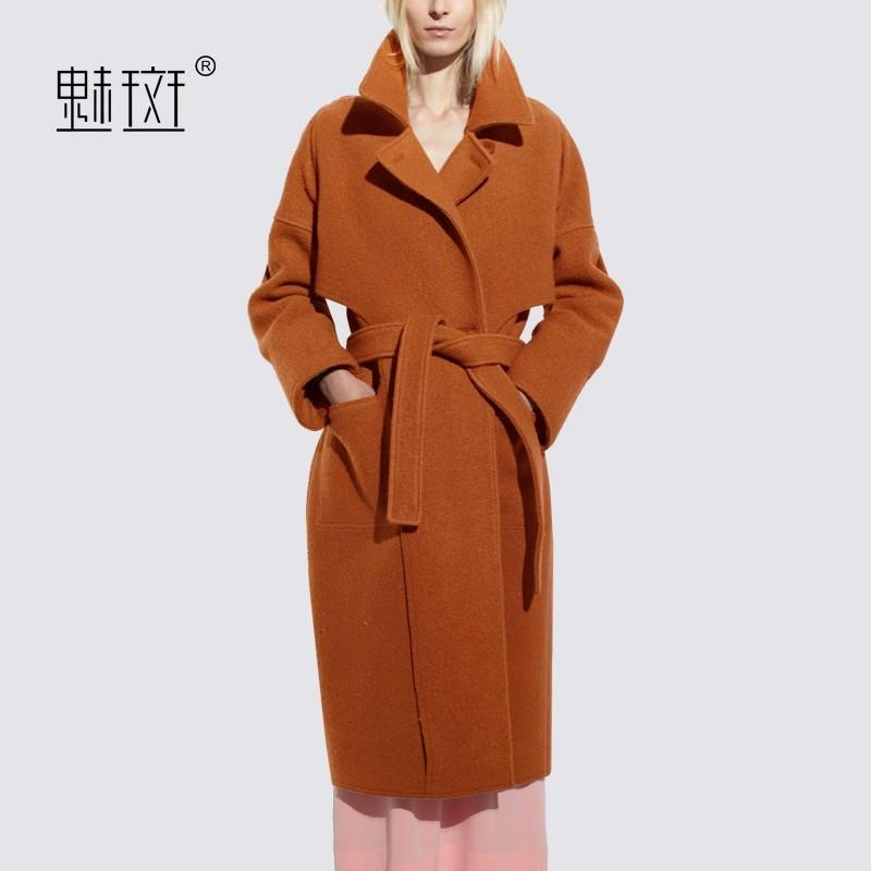 My Stuff, 2017 in winter new products women's solid color long wool coats women loose collar wool co