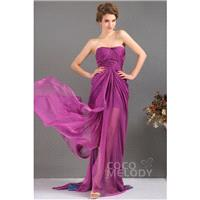 Charming Sheath-Column Strapless Sweep-Brush Train Chiffon Cocktail Dress COLF13008 - Top Designer W