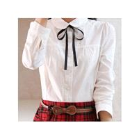 School Style Simple Slimming Polo Collar Long Sleeves Cotton White Blouse - Lafannie Fashion Shop