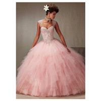 Brilliant Tulle Sweetheart Neckline Ball Gown Quinceanera Dresses With Beadings & Rhinestones - over