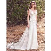 Maggie Sottero Fall/Winter 2017 Estelle Elegant Cap Sleeves Ivory V-Neck Chapel Train Sheath Embroid