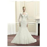 Elegant Tulle & Lace Jewel Neckline Natural Waistline Mermaid Wedding Dress With Detachable Jacket -