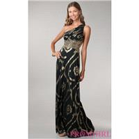 One Shoulder Black Gown with Gold Print - Brand Prom Dresses|Beaded Evening Dresses|Unique Dresses F