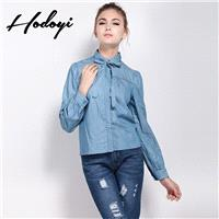 Thin denim shirt women long sleeves fall 2017 Institute of cowboy shirts clothing cotton plus size s