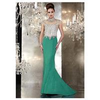 Fantastic Tulle & Chiffon High Collar Neckline Mermaid Long Evening/Formal Dresses With Beadings & R