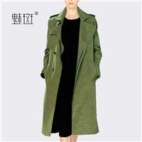 2017 new autumn and winter plus size women wear Army Green windbreaker relaxed casual frock coat coa