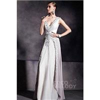Graceful Sheath-Column V-Neck Silver Cloud Floor Length Evening Dress with Appliques COZF14039 - Top