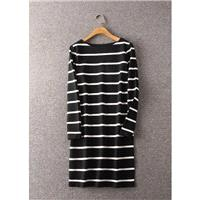 Must-have Slimming Curvy Stripped Black & White Long Sleeves Dress - Lafannie Fashion Shop
