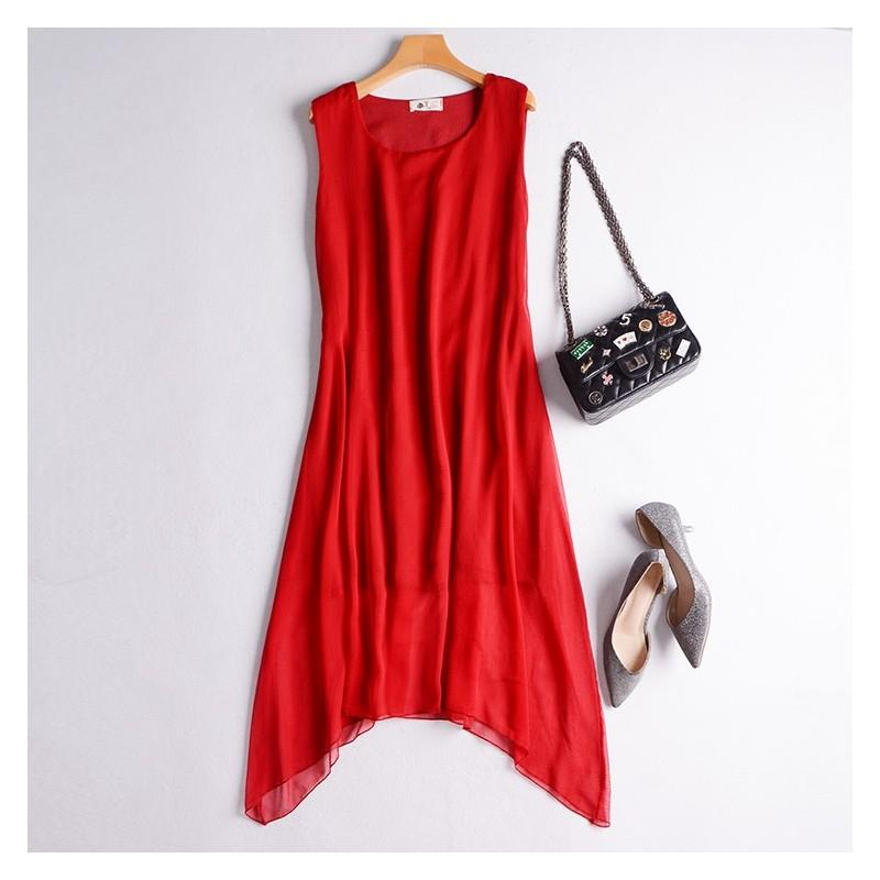 My Stuff, Oversized Asymmetrical Slimming Chiffon Ramie Vest Dress Dress Basics Mid-length Skirt - D