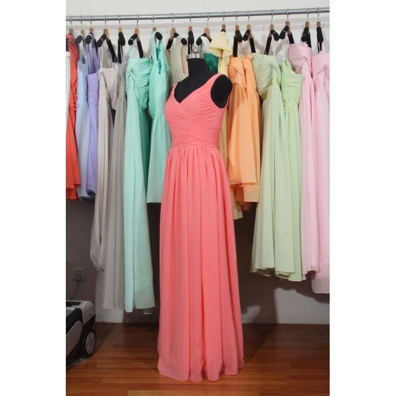My Stuff, Coral Cheap Bridesmaid Dress, A-line Floor Length Coral Chiffon Bridesmaid Dress - Hand-ma