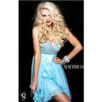 Aqua Sherri Hill 3834 - Chiffon Dress - Customize Your Prom Dress