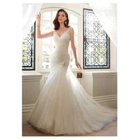 Chic Tulle V-neck Neckline Mermaid Wedding Dresses with Beadings & Rhinestones - overpinks.com