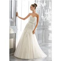 Morilee by Madeline Gardner Fall/Winter Maura 5566 Lace Sweet Beading Sweetheart Aline Chapel Train