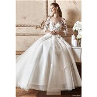 Tarik Ediz 2017 G2052 Hand-made Flowers Court Train Sweet Ivory 3/4 Sleeves Winter Illusion Tulle Al