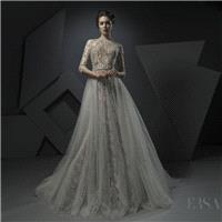 Ersa Atelier Spring/Summer 2018 Miss Jessel Champagne Chapel Train Open Back Aline 3/4 Sleeves Lace