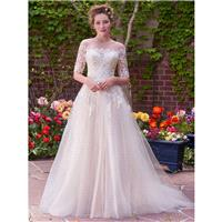 Rebecca Ingram 2017 Yvonne Ivory Outfit Chapel Train Illusion Ball Gown 1/2 Sleeves Appliques Tulle